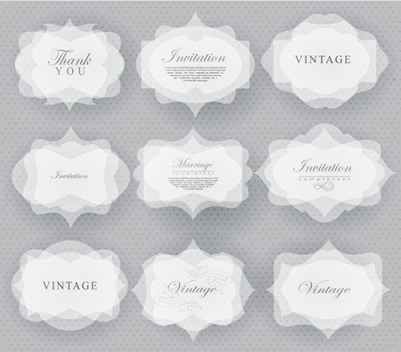 felicitaciones: Elegante tarjeta de invitación transparente y etiqueta en estilo retro se pueden utilizar para la invitación, felicitación