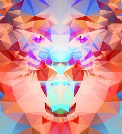 Abstract polygonal tiger. Geometric hipster illustration. Polygonal poster Illustration