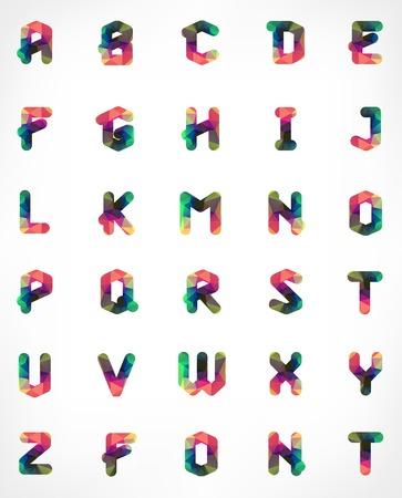 tipos de letras: Fuente geom�trica poligonal. Alfabeto Creativo. Set tipogr�fico