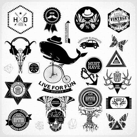 sacral symbol: Hipster label, icon, elements, set of vintage hipster label with gothic, sacral sign and symbol