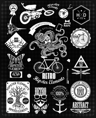 sacral: Hipster label, icon, elements, set of vintage hipster label with gothic, sacral sign and symbol