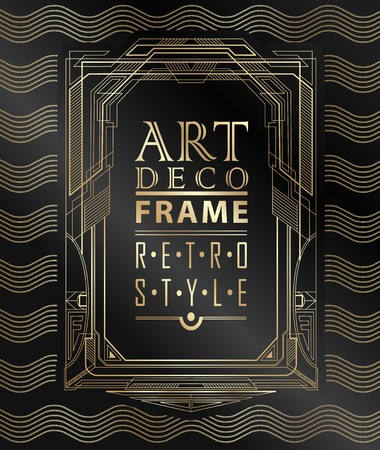 ornament frame: Art deco geometric vintage frame can be used for invitation, congratulation