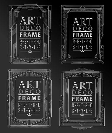 Art deco marco geométrico de la vendimia se puede utilizar para la invitación, felicitación Foto de archivo - 42750017