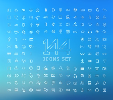 universal modern thin line icons for web and mobile app, business, finance, multimedia, hipster style