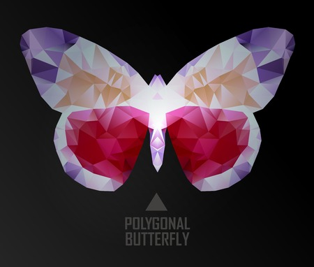 butterfly flying: Colorful polygonal butterfly flying