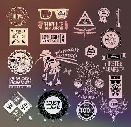 hombre con sombrero: Etiqueta Hipster, icono, elementos, conjunto de etiquetas de la vendimia con inconformista, signo sacro g�tico y el s�mbolo