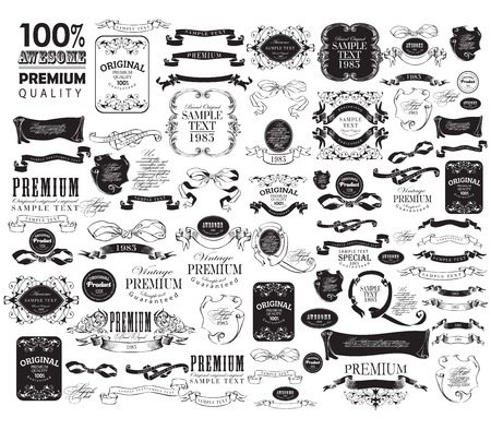 Mega set of Ornate frames and scroll elements Illustration