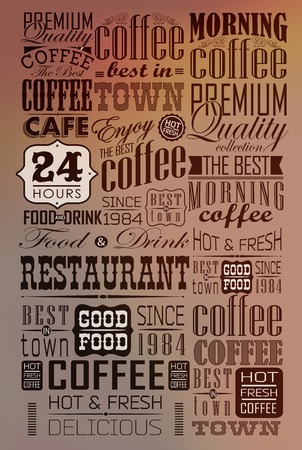 masculine: Mega set of thin line Vintage Retro Coffee Labels and typography