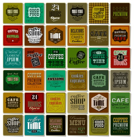 Mega set of Vintage Retro Coffee  Labels and typography, lements in retro style
