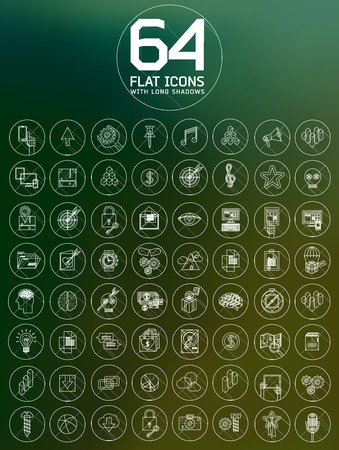 multimedia icons: universal modern thin line icons for web and mobile app, business, finance, multimedia, hipster style