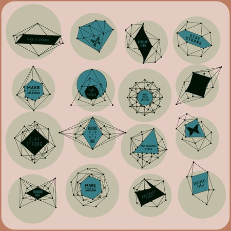 teorema: Abstract polygonal label design. Elements of astronomy and constellation. Cosmic style Vectores
