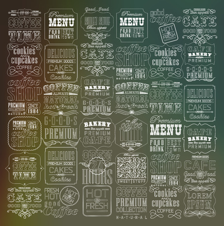 vintage menu: Mega set of thin line Vintage Retro Coffee  Labels and typography. Coffee decoration collection Illustration