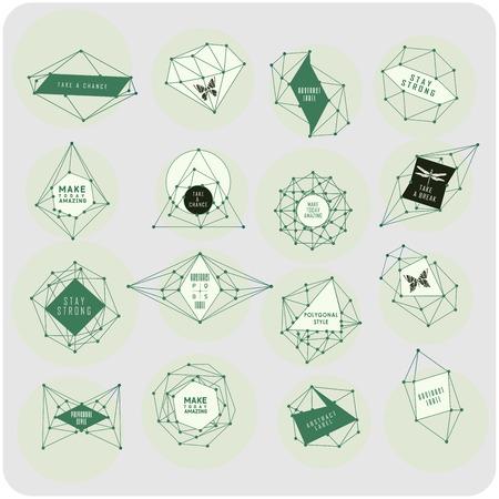 多角形のラベル デザインを抽象化します。星座と天文学の要素。宇宙スタイル