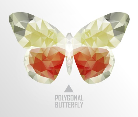 butterfly flying: Colorful polygonal butterfly flying. Geometric illustration. Color butterfly flying Illustration
