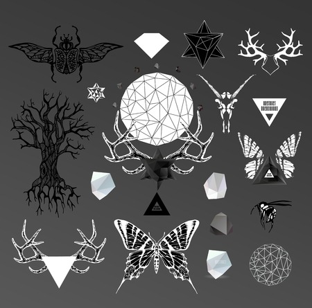 tattooed: Abstract hipster  illustration with polygonal design element, symbol, sign for tattoo