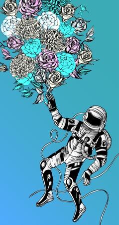astronauta: Concepto espacial con el astronauta, Cita Antecedentes y flores, la tipografía. Cartel Cósmica