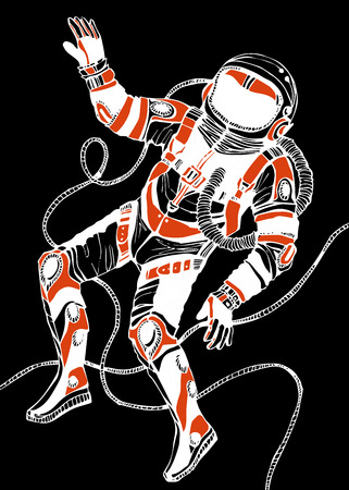 outerspace: Space concept with astronaut. Cosmic poster. Retro illustration Illustration