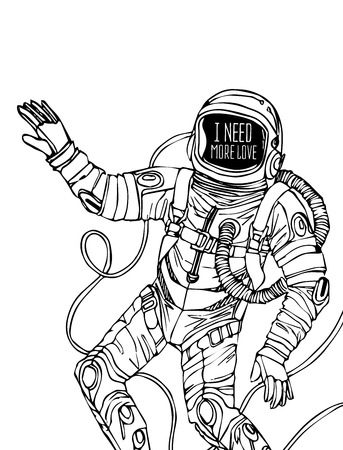 outerspace: Space concept with astronaut and Quote Background, typography. Cosmic poster