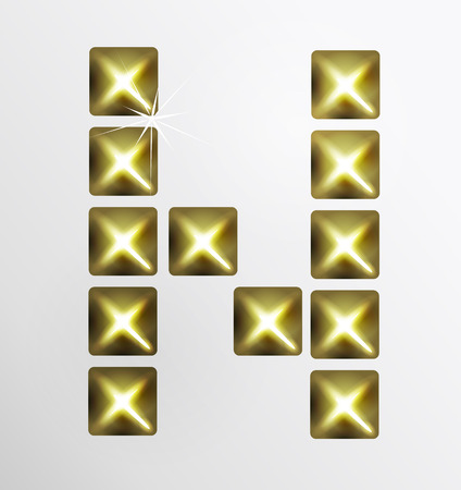 stud: Letter icon, gold pixel font with metal stud. Abstract creative font. Illustration