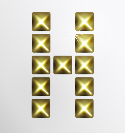 stud: Letter icon, pixel font with metal stud. Abstract creative font.