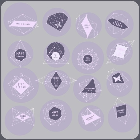 teorema: Abstract polygonal label design. Elements of astronomy and constellation. Cosmic style, low poly illustration