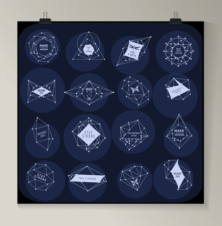 theorem: Abstract polygonal label design. Elements of astronomy and constellation. Cosmic style. . low poly illustration