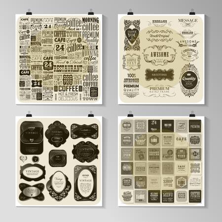 decoration design: Set of calligraphic design elements and page decoration