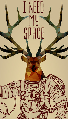 deer in heart: Space concept with deer astronaut and Quote Background