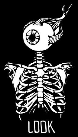 chest pain: Human skeleton Illustration