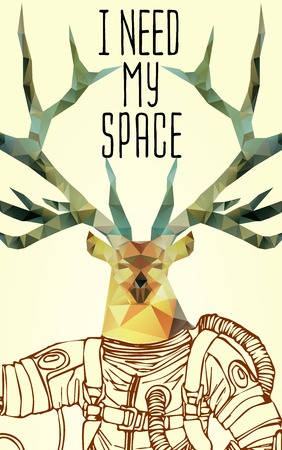 spaceflight: Space concept with deer astronaut and Quote Background, typography. Cosmic poster Illustration