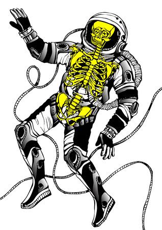 skeleton man: Raumkonzept mit Astronauten und Skelett. Cosmic Plakat Illustration