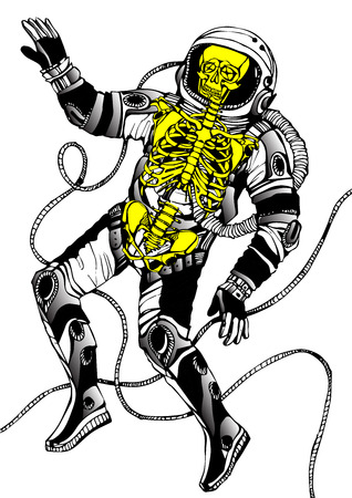skeleton: Space concept with astronaut and skeleton . Cosmic poster