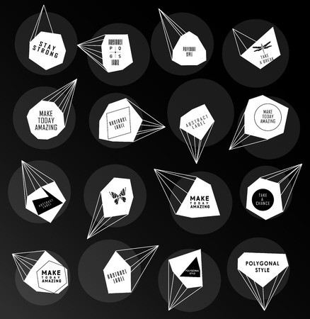 Abstract polygonal label and bubble design.  Illustration