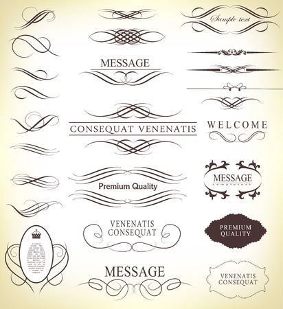 Set of calligraphic elements for design  can be used for invitation, congratulation Vettoriali