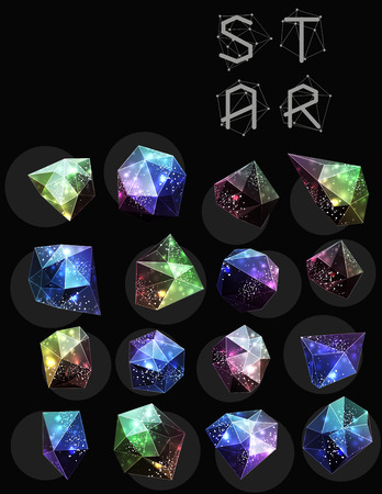 night vision: Abstract polygonal cosmic crystal and label.