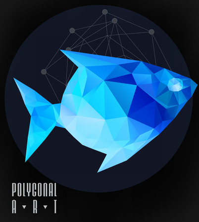 Abstract polygonal fish. low poly illustration. Creative poster Çizim