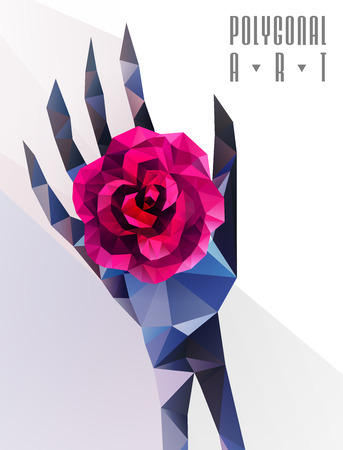 Abstract polygonal hand . Geometric hipster illustration. Polygonal poster Ilustrace