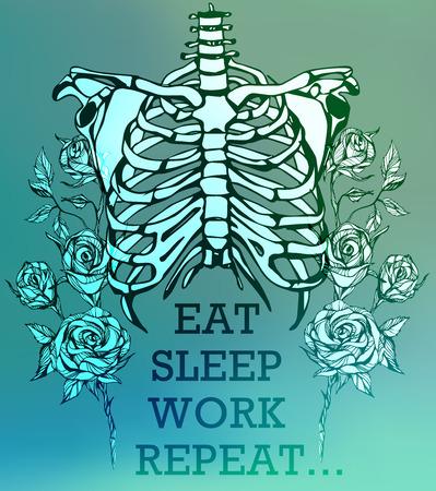 science symbols metaphors: Human skeleton. Creative quote background. Digital illustration