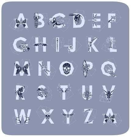 wonderful: Geometric font. Creative Alphabet. Abstract  hipster font,  drawn by hand illustration
