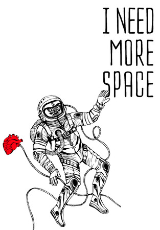 spaceflight: Space concept with astronaut and Quote Background, typography. Cosmic poster
