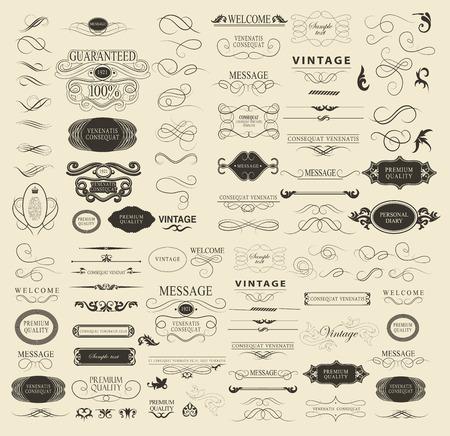 Conjunto de elementos caligráficos de diseño se puede utilizar para la invitación, felicitación Foto de archivo - 42984563