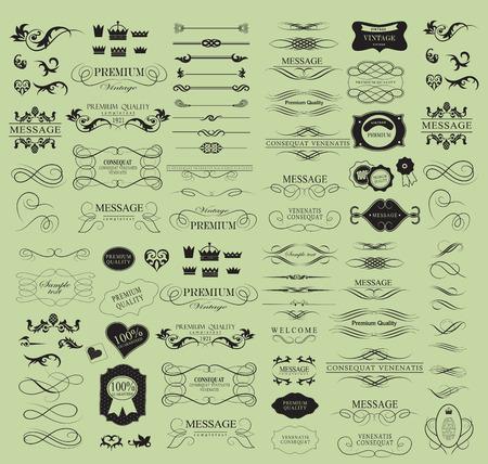 bordes decorativos: Conjunto de elementos caligr�ficos de dise�o se puede utilizar para la invitaci�n, felicitaci�n Vectores