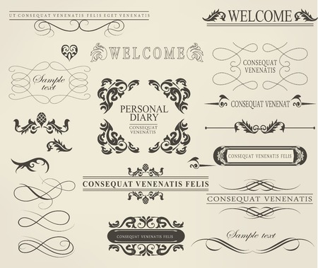 Set of calligraphic elements for design  can be used for invitation, congratulation 矢量图像