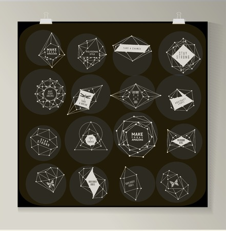 night vision: Abstract polygonal label design. Elements of astronomy and constellation. Cosmic style. . low poly illustration