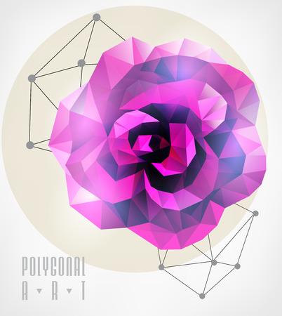 抽象的な多角形のローズ。低ポリの図。創造的なポスター  イラスト・ベクター素材