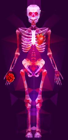 rebirth: Polygonal skeleton. low poly illustration. Polygonal creative poster Illustration