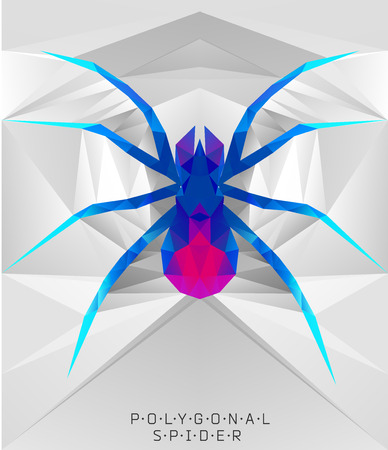 stag beetle: Polygonal spider. Geometric  illustration. Polygonal creative poster. low poly illustration