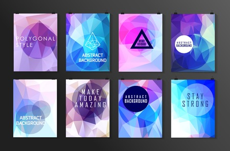 Set of poster, flyer, brochure design templates. Abstract modern polygonal backgrounds. Banco de Imagens - 42983930
