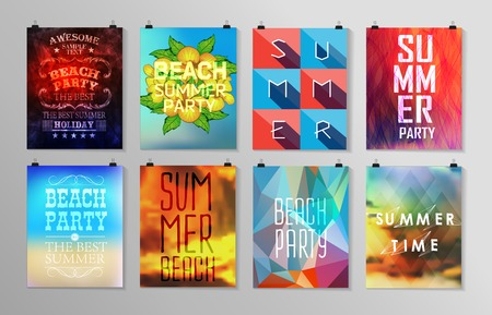 sentence: Set of poster, flyer, brochure design templates.. Elements for Summer Holidays with colorful background. Calligraphic designs and ornaments