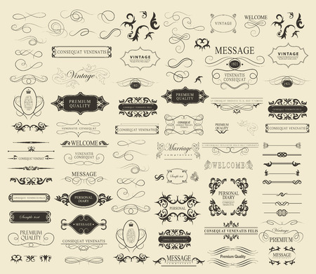Set of calligraphic elements for design  can be used for invitation, congratulation 일러스트